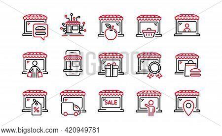 Market Store Line Icons. Online Marketplace, Network Marketing, Wholesale Shop. Store Showcase, Groc