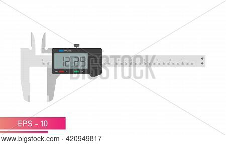 Digital Vernier Caliper With Display And Numeric Scale. Tools For Technical Specialists. Flat Vector