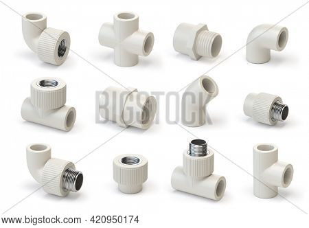 Set of PVC pipe fittings isolated on white. 3d illustration