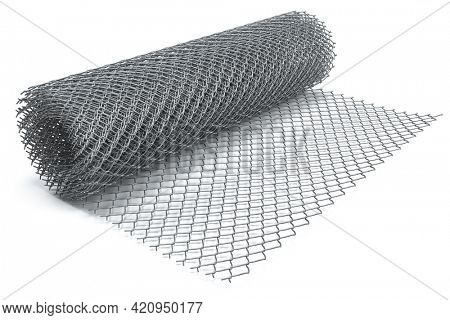 Coil of steel wire. Rabitz mesh netting roll isolated on white. 3d illustration