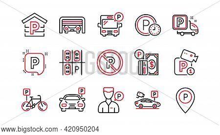 Parking Line Icons. Garage, Valet Servant And Paid Parking. Car Transport Park Place Linear Icon Set