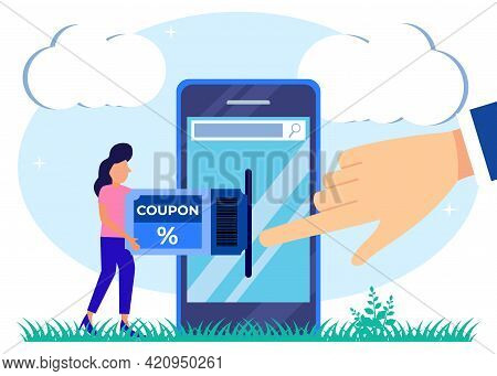 Flat Style Coupon Vector Illustration. Store Discount Voucher Concept. Symbolic Chase After A Cheap