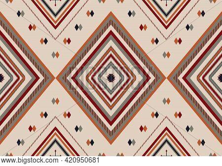 Ethnic Boho Geometric Ornament. Mexican Navajo, Aztec Tribal Seamless Pattern. Native Serape Design.