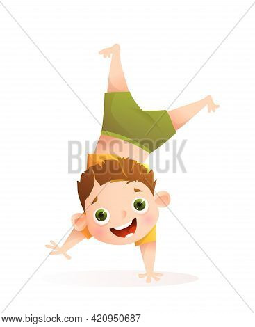 Boy Playing And Having Fun, Doing Handstand For Sport Activities Or Dancing. Little Toddler Boy Char