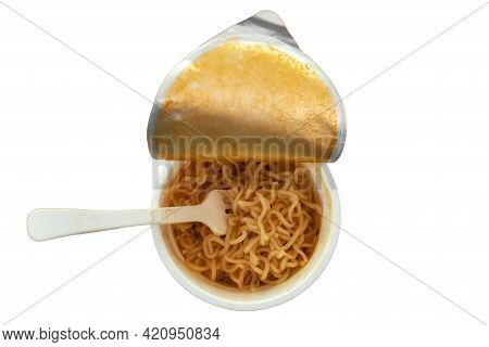 Top View Of Cup Of Instant Noodle Ready To Eat Isolated On White Background. It Is Convenient And De
