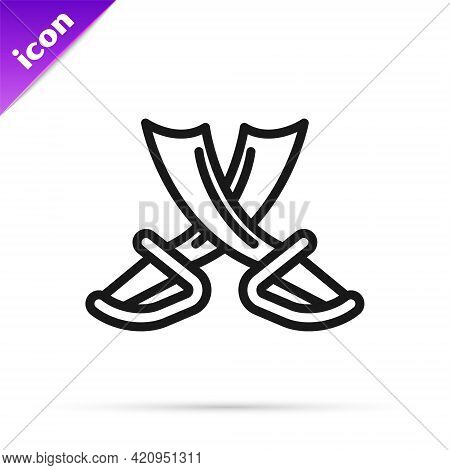 Black Line Crossed Pirate Swords Icon Isolated On White Background. Sabre Sign. Vector