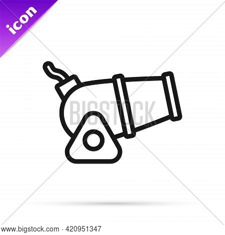 Black Line Cannon Icon Isolated On White Background. Medieval Weapons. Vector