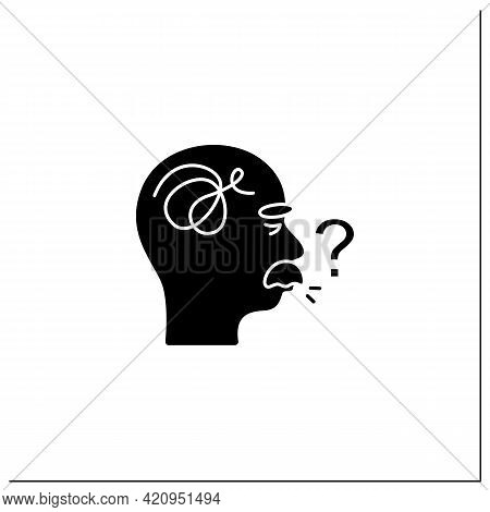 Speaking Problems Glyph Icon.difficulties With Pronunciation, Spelling Sounds. Alzheimer Disease. Ne