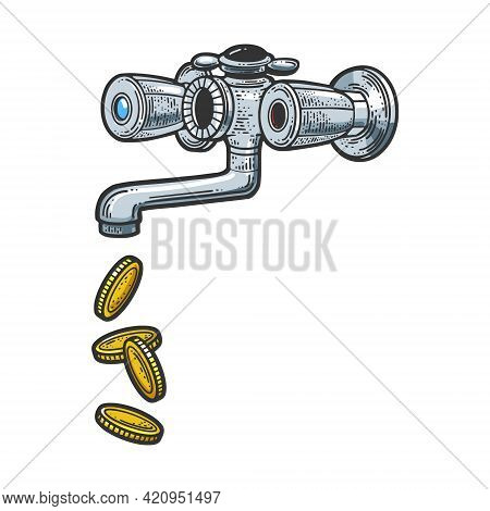 Coins Dripping From The Faucet Color Sketch Engraving Vector Illustration. T-shirt Apparel Print Des
