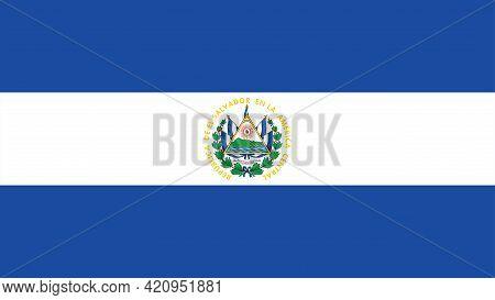 National El Salvador Flag, Official Colors And Proportion Correctly. National El Salvador Flag.