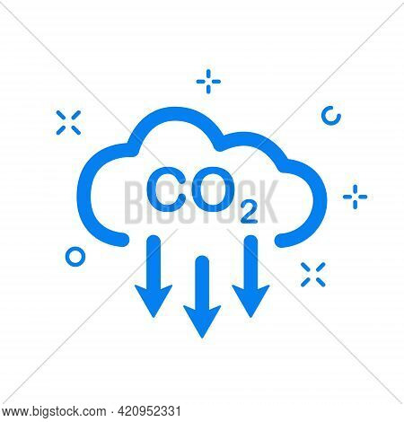 Co2 Linear Icon. Emissions Reduction Of Carbon Gas. Cloud Of Co2 Gas. Decrease Pollution Line Icon.