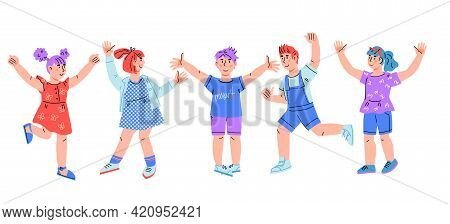 Group Of Happy Smiling Children, Boys And Girls Jumping For Joy, Cartoon Vector Illustration.
