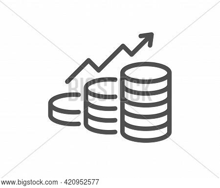 Growth Chart Line Icon. Coins Money Sign. Business Income Symbol. Quality Design Element. Linear Sty