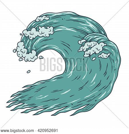 Wave With Foam For Surfing. Summer Marine Tide. Wavy Sea Or Ocean For Nautical Design
