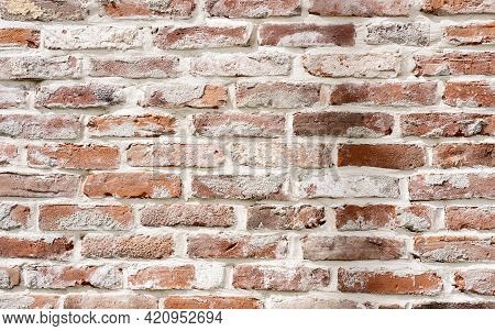 Brick Wall With Red Brick, Red Brick Background With Painted White Stucco. Background, Old Wall Of R