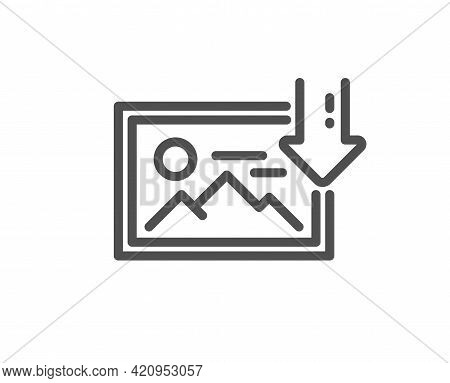 Download Photo Line Icon. Image Thumbnail Sign. Picture Placeholder Symbol. Quality Design Element.