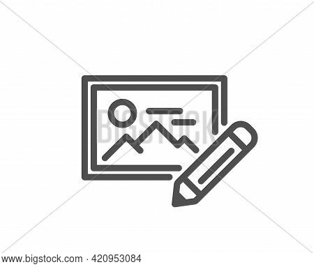 Photo Edit Line Icon. Image Thumbnail With Pencil Sign. Picture Placeholder Symbol. Quality Design E
