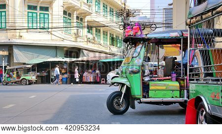 Bangkok, Thailand : March 1, 2021 - Tuk-tuk Car Or 3 Wheeler Taxi Is Waiting For Passengers To Servi