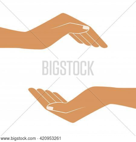 Two Hands Holding Something. Images Of Hands Of People. Free Space For The Premises Of The Object. E