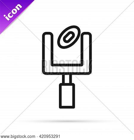 Black Line American Football Goal Post And Football Ball Icon Isolated On White Background. Vector