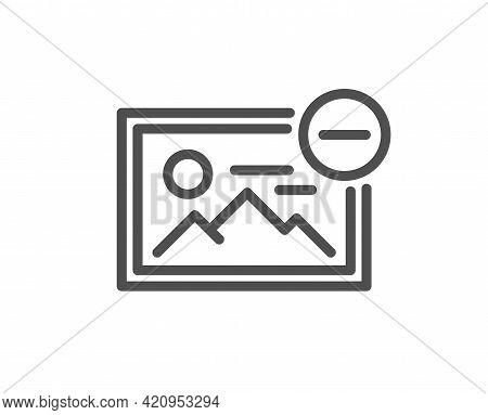 Remove Image Line Icon. Photo Thumbnail Sign. Picture Placeholder Symbol. Quality Design Element. Li