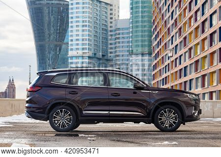Moscow, Russia - March 18, 2021: New Flagship Seven-seater Minivan Chery Tiggo 8 Pro. Chinese Car In