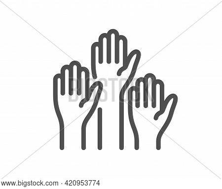 Voting Hands Line Icon. People Vote By Hand Sign. Public Election Symbol. Quality Design Element. Li