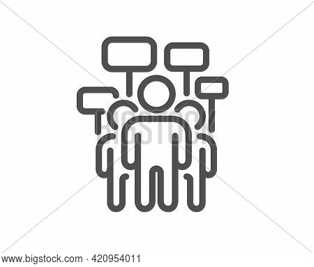 Voting Campaign Line Icon. People Rally With Signs. Public Election Symbol. Quality Design Element.