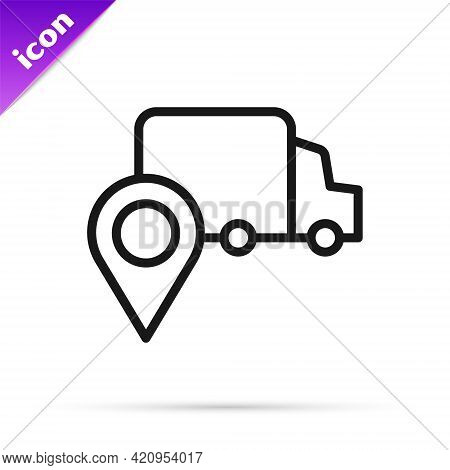 Black Line Delivery Tracking Icon Isolated On White Background. Parcel Tracking. Vector