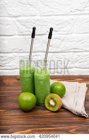 Healthy Smoothie With Spinach. Colourful Healthy Green Smoothies. Glasses With Green Organic Smoothi
