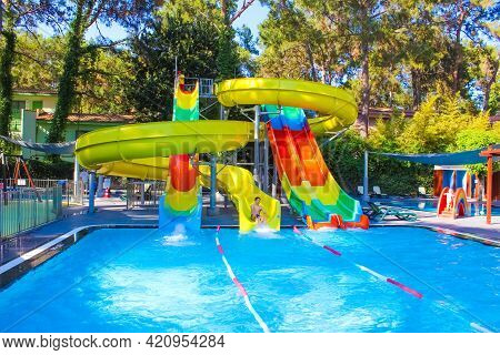 Goynuk, Antalya, Turkey - May 11, 2021:boy Resting At Aquapark At Seven Seas Hotel Life Ultra All In
