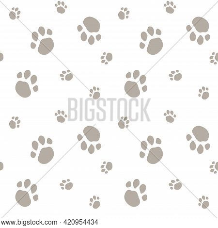 Seamless Pattern With Animal Paw Prints. Gray Paws On A White Background. Vector Illustration, Endle
