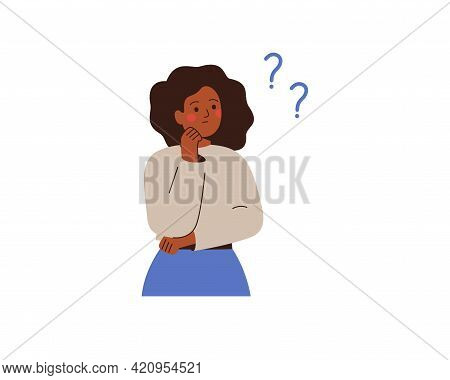 Black Businesswoman Thinks About Something And Looks At Question Marks. Thoughtful African Girl Make