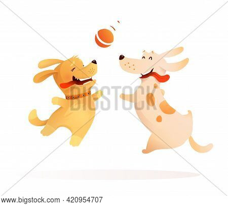Two Dogs Best Friends Playing Together, Puppy And A Dog Jumping In The Air To Catch A Ball. Happy Do