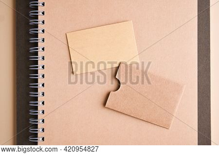 Business Card, Branding Mockup With Many Craft Paper And Different Subjects, Eco-friendly Stationery