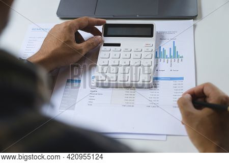 American African With A Savings Account Calculates The Amount Of Money He Can Save This Year. Accoun