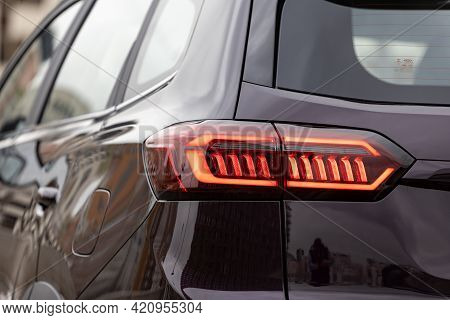 Moscow, Russia - March, 18.2021: Led Taillights Of The New Seven-seater Minivan Chery Tiggo 8 Pro. N