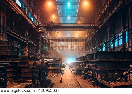 Foundry Interior, Heavy Metallurgical Industry, Steel Foundry Manufacturing Production Workshop, Ind