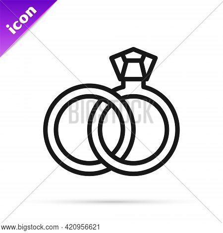 Black Line Wedding Rings Icon Isolated On White Background. Bride And Groom Jewelry Sign. Marriage S