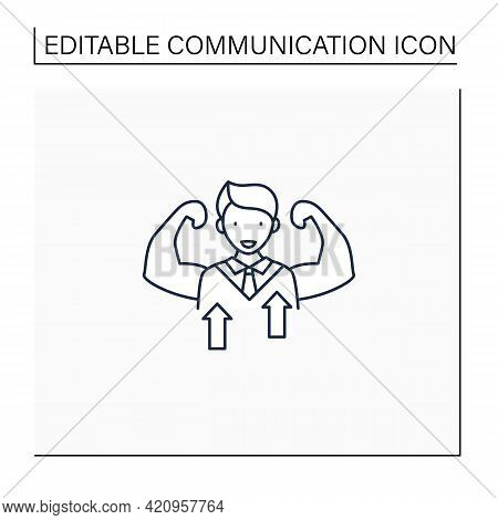 Self Confidence Line Icon.individual Trust In Abilities, Capacities, And Judgments. Strong Personali