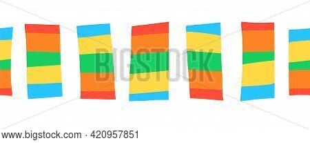 Seamless Border Doodle Block Stripes. Vector Pattern Horizontal Abstract Illustration. Ribbon Trim.