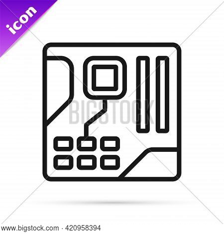 Black Line Electronic Computer Components Motherboard Digital Chip Integrated Science Icon Isolated