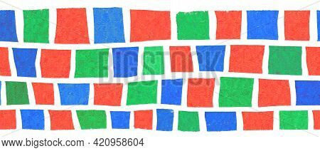 Seamless Creative Border Abstract Hand Drawn Block Stripes. Repeating Pattern Horizontal Square Shap