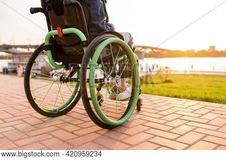 Close Up. Disabled Man On Wheelchair Outdoor. Disabled Young Man. Man On Wheelchair. Recovery And He
