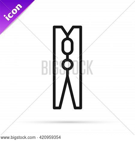 Black Line Old Wood Clothes Pin Icon Isolated On White Background. Clothes Peg. Vector