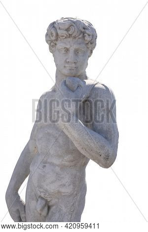 Ancient man's upper body stone sculpture on white background. art and classical style romantic figurative stone sculpture.