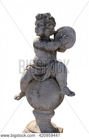 Ancient stone sculpture of naked cherub playing cymbals on white background. art and classical style romantic figurative stone sculpture.