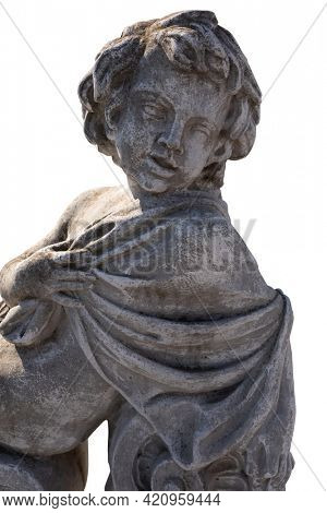 Close up of ancient stone sculpture of naked cherub wrapped in fabric on white background. art and classical style romantic figurative stone sculpture.