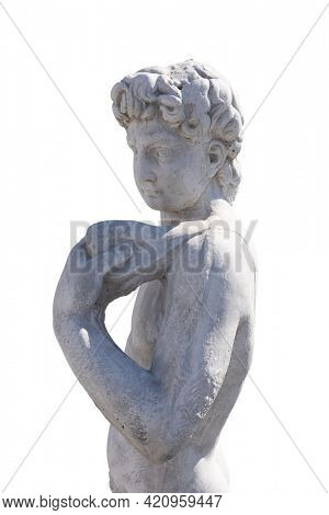 Side view of ancient man's upper body holding object stone sculpture on white background. art and classical style romantic figurative stone sculpture.