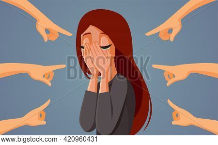 Fingers Pointing At Crying Woman Blaming The Victim